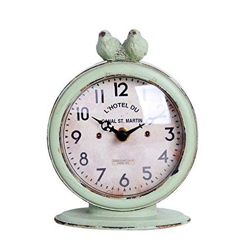 NIKKY HOME Reloj de Mesa con Cuarzo analógicos Vintage Diseño de Escritorio y estantería para salón baño de decoración Metal Verde