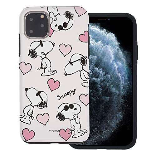 """iPhone 11 ケース と互換性があります Peanuts Snoopy ピーナッツ スヌーピー ダブル バンパー ケース デュアルレイヤー 【 アイフォン 11 ケース (6.1"""") 】 (スヌーピー な愛 柄) [並行輸入品]"""