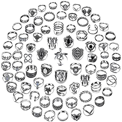 78 PCS Vintage Silver Knuckle Rings Set, Stackable Joint Finger Rings for Women, Bohemian Midi Rings, Boho Butterfly Snake Crystal Stacking Rings Pack (Style 1_78 pcs)
