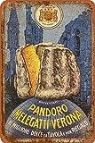 MELEGATTI Il pandoro Cartello Stradale in Metallo per Esterni, Decorazione per la casa Vintage Rustico Portico 20x 30 cm;