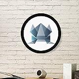 DIYthinker Rana Origami Abstracto Forma geométrica Ronda Marco de Fotos de Cuadros de Pinturas dirigen la Etiqueta Gift Pared Medio Negro