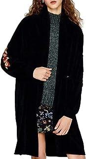 Femme Longue Pull Brodé Cardigan Manche Section Revers Tricot htsdCBoQrx