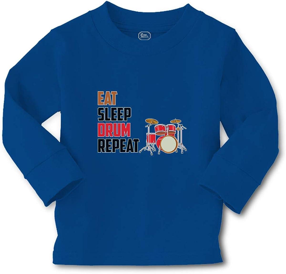 Cute Rascals Kids Long Sleeve T Shirt Eat Sleep Drum Repeat Musical Cotton Boy & Girl Clothes