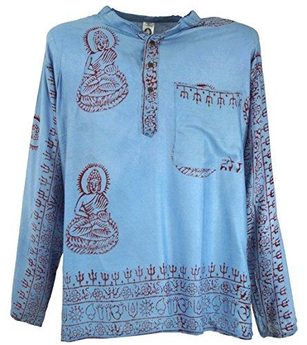 GURU SHOP Indisches Mantra Shirt, Goa Hippie Hemd, Herren, Hellblau, Synthetisch, Size:S, Hemden Alternative Bekleidung