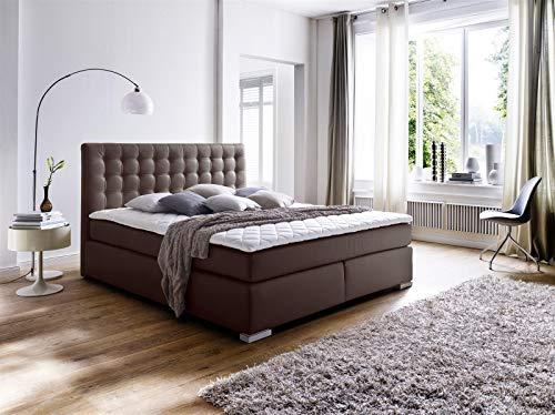 möbelando Boxspringbett Doppelbett Bett Polsterbett Ehebett Lenno braun 180x200 cm H2