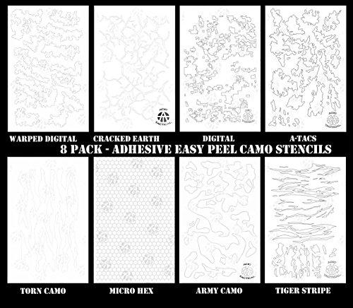 Acid Tactical® Paquete de 8 plantillas de camuflaje EasyPeel en aerosol de pintura de cerakote con diseño de camuflaje para pistola adhesiva, diseño de tigre, digital, hexagonal y más
