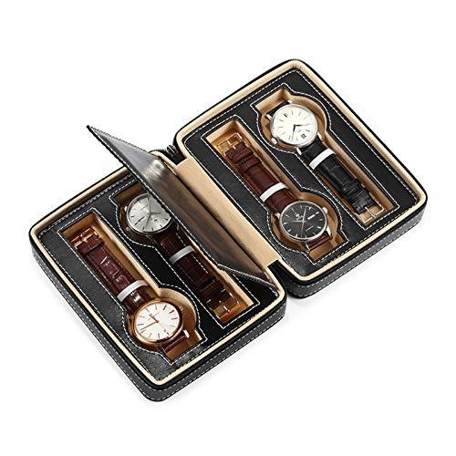 Jlxl 4 ranuras para relojes, estuche de viaje, organizador de reloj portátil, caja de almacenamiento para hombres y mujeres, piel sintética, diseño de cremallera (color: negro)