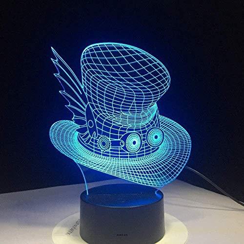 3D Illusionslampe Nightlight s Stereo Nachtlicht Cartoon Wickeltischlampe für Schlafzimmer Schöne Wickeltischlampe USB 7 Farben (Fernbedienung)