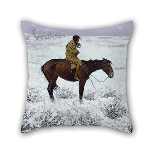 beautifulseason Oil Painting Frederic Remington - The Herd Boy Christmas Pillow Shams 20 X 20 inches / 50 by 50 Cm Best Choice for Husband Couples Boy Friend Club Lover Monther with Each Side