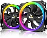 Antec Ventilador de caja RGB de 140 mm, ventiladores de PC RGB, ventiladores RGB direccionables, serie Prizm, paquete de 2 con controlador Hub