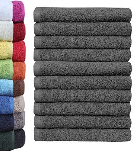 Lot de 10 gants de toilette NatureMark - 100 % coton - Dimensions : 30 x 30 cm - En tissu éponge - Couleur : gris anthracite