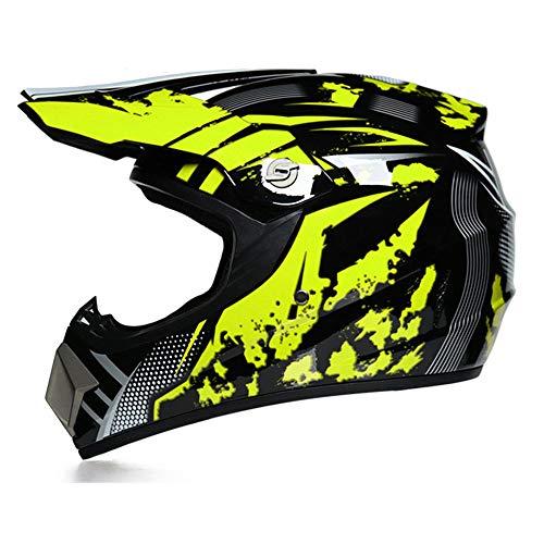 Casco De Moto De Descenso MX ATV MTB DH Certificado por Dot Casco De Moto para Niños con Casco, Gafas, Protector Facial Y Guantes,S
