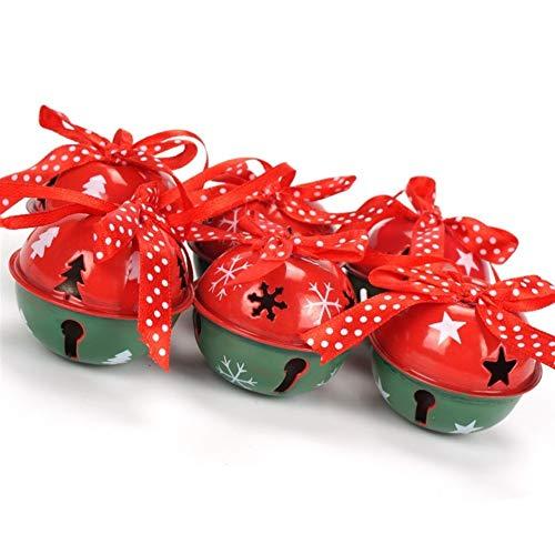 DYHM cascabeles 6PCS Inicio Verde Rojo del Metal Blanco Decoración de Bell (Christmas Bell Size : 50mm, Color : 2)