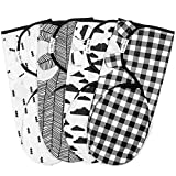 Swaddle Blanket, Adjustable Infant Baby Wrap Set of 4, Baby Swaddling Wrap Blankets Made in Soft Cotton, by...