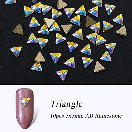 Gouen Cristal Nail Gems Strass pour Nail Art Verre Roue Fleur Bijoux Diamant Nail Pierre Décoration Manucure, 10 pcs Triangle 5x5mm