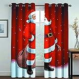 MMHJS Tende in Tessuto Moderne E Semplici Tende Verticali Stampate in 3D Babbo Natale Tende Oscuranti per Balcone Camera da Letto E Soggiorno (2 Pezzi)