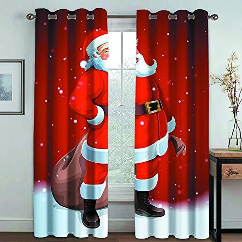 MMHJS Cortinas De Tela Modernas Y Sencillas Cortinas con Estampado De Papá Noel 3D, Cortinas Verticales Opacas para Balcón De Dormitorio Y Sala De Estar (2 Piezas)