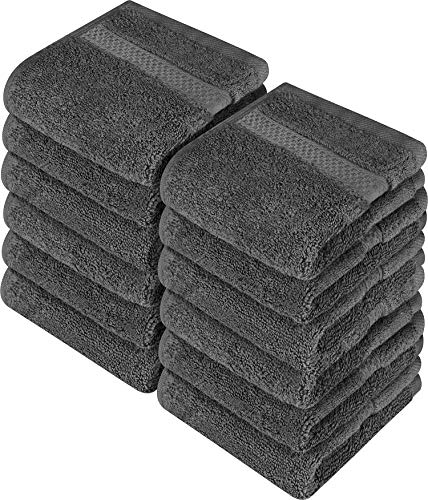Utopia Towels  Luxury Washcloths Set 12 x 12 inches Grey  700 GSM 100% Cotton Premium Quality Flannel Face Cloths Highly Absorbent and Soft Feel Fingertip Towels 12Pack
