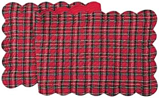 C&F Home 14x70 Quilted Christmas Scallop Edge Table Runner, Red Plaid
