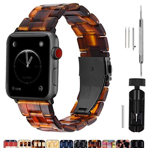 Cinturino per Apple Watch 42 mm, Moda Cinturino in Resina di Ricambio per iWatch Compatibile con Apple Watch Serie 5 4 3 2 1, Hermes, Nike +, Edition, Sport, 42mm, Ambra Scura(Hardware Grigio Fumè)