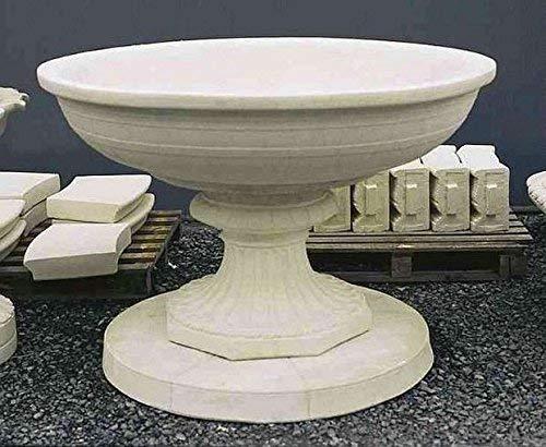 pompidu-living Brunnen, Gartenbrunnen, Zierbrunnen, Fountain, Schale auf Sockel Farbe Sandstein