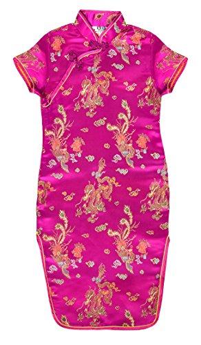 Laciteinterdite Vestido Chino para niña, Qipao tradicionale Fucsia Motivo Dragones 8 años