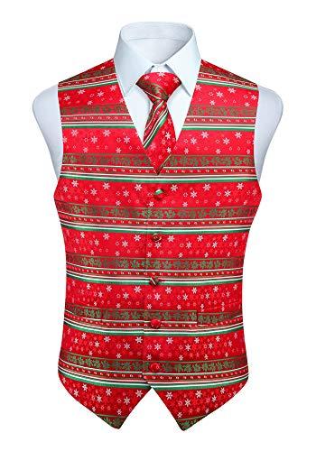 HISDERN Men's Suit Vest Christmas Snowflake Santa Claus Jacquard Waistcoats Necktie Pocket Square Vest Suit Set Holiday Season Party