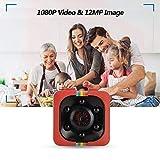 DAUERHAFT Mini cámara de Seguridad para el hogar Sensor Anti-vibración Cámara infrarroja de visión Nocturna 1080P, para grabación de Datos de Coche, para grabación de Deportes al Aire(Red)