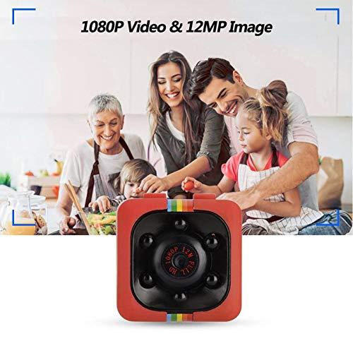 DAUERHAFT Lente Gran Angular de 140 Grados Cámara Deportiva HD Mini cámara Sensor Anti-vibración Función de detección de Movimiento, para grabación de Deportes al Aire Libre, para(Red)