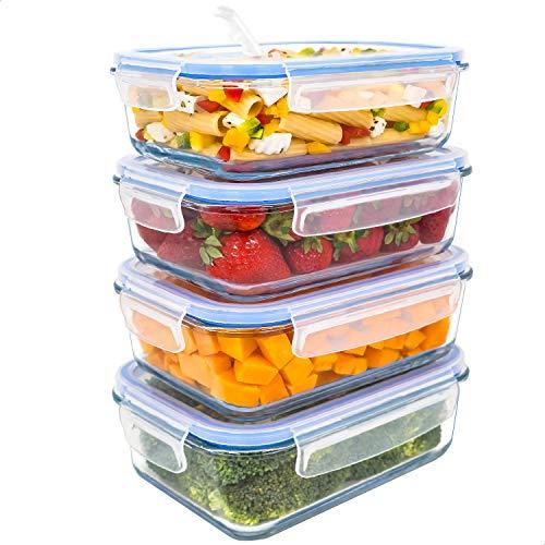 LG Luxury & Grace Lot de 4 Boîtes Alimentaires en Verre 1000 ML. Récipient Hermétique avec Valve de Vapeur. Boîtes de Conservation pour Micro-Ondes, Four, Lave-Vaisselle et Congélateur. sans BPA.