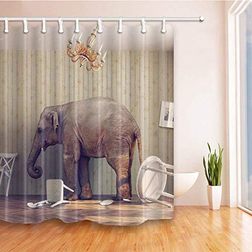 Elefant Duschvorhang, Indian Bohemian bezaubernd lebensecht Wildtier Afrikanischer Elephant Duschvorhang für Badezimmer Dekor .70x70Zoll