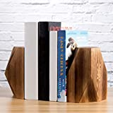 MyGift Rustic Burnt Solid Wood Geometric Style Bookends, Set of 2
