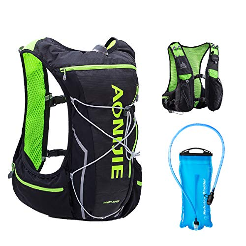 TRIWONDER 10 L Zaino Trail Running, Gilet Zaino Running, Ultraleggero Zainetto Idratazione da Ciclismo Corsa Trekking per Uomo Donna (Nero & Verde - con una borraccia 2 L, L / XL)