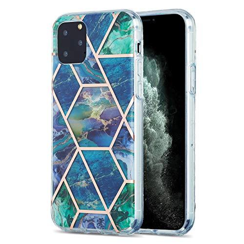 Fundas para iPhone 11 Pro (5.8 pulgadas), caso de TPU con patrón de mármol (azul-verde)