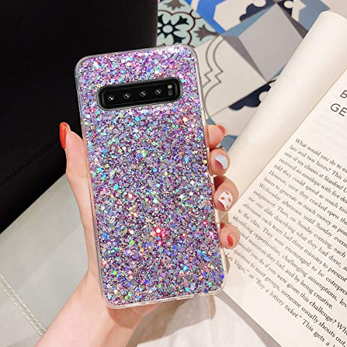 Topwin Galaxy S10 Glitter Case, Sparkle Bling Shiny Diamond Slim Soft Reflective Clear TPU Rubber Bumper Girl Women Protective Case for Samsung Galaxy S10 6.1'' (Purple)