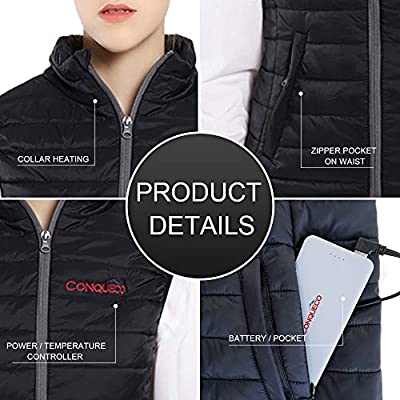 CONQUECO Womens Heated Vest Lightweight Slim Fit Gilet Coat With Battery Pack L