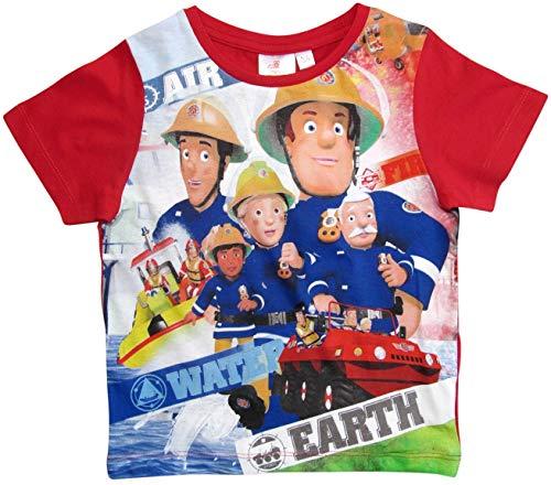 Feuerwehrmann Sam T-Shirt Jungen Rundhalsausschnitt (Rot, 92-98)