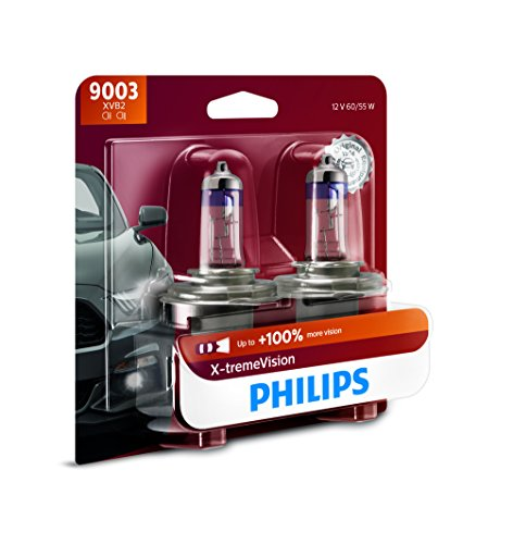 Philips 9003 X-tremeVision Upgraded Headlight Bulb with up to 100% More Vision, 2 Pack
