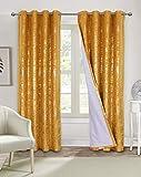 Always4u - Cortina opaca de terciopelo dorado, cortina de salón con ojales, aislamiento térmico, acústico, cocina, dormitorio, ventana, niña, bebé, juego de 2 unidades, color amarillo 140 x 260 cm