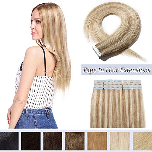 Rooted Tape In Human Hair Extensions Invisible Seamless Skin Weft Double Side Tape Remy Human Hair Extensions Natural Straight For Women (12,40g/20pcs,#18P613 Ash Blonde&Bleach Blonde)