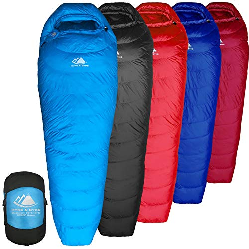 Hyke & Byke Quandary 15 Degree F 650 Fill Power Hydrophobic Down Sleeping Bag with ClusterLoft Base - Ultra Lightweight 3 Season Men's and Women's Mummy Bag Designed for Backpacking