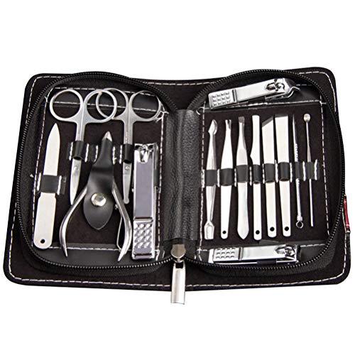 Lurrose 15pcs manucure pédicure ensemble multi fonction coupe-ongles en acier inoxydable kit de manucure professionnel kit de toilettage ongles outils avec cas de luxe