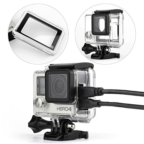 WiserElecton Side Open Skeleton Housing for GoPro Hero4 Hero3+ Hero 3 Cameras with Touch Function Protective Backdoor and Lens