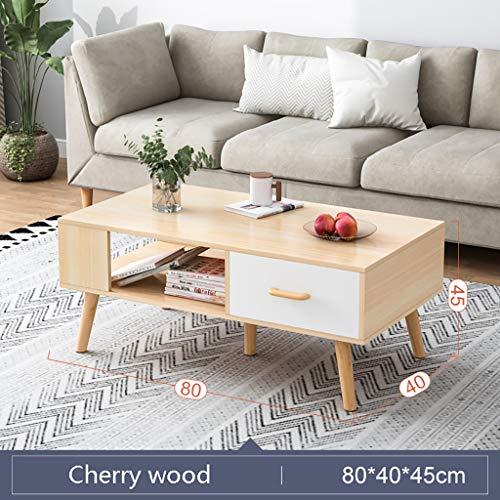 Mesa de centro pequeña Mesa de estar de la sala de estar moderna moderna, fácil de montar, fácil de montar la mesa de té en casa, mesa de apartamentos pequeña con cajones, panel a base de madera Mini