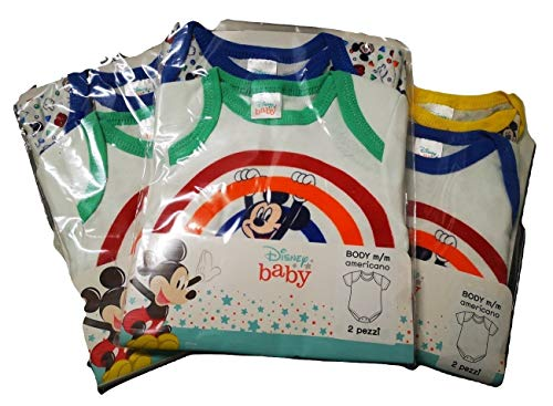 Disney 6 Body Bambini Mezza Manica Minnie Topolino (Minnie, 18 Mesi)