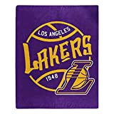 Officially Licensed NBA Los Angeles Lakers Dropdown Plush Raschel Throw Blanket, 50' x 60', Multi Color