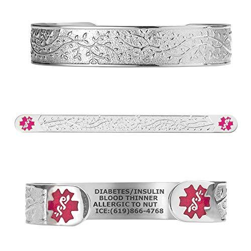 Divoti Custom Engraved Medical Alert Bracelets for Women, Stainless Steel Medical Bracelet, Medical ID Bracelet w/Free Engraving - Lovely Filigree Olive w/6' Cuff(fits 6.5-8.0')-Stainless/TP Magenta