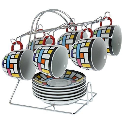 Supernova Decoracion_Set 6 Tazas con plato ceramica fabricada en cerámica con una original decoracion incluye soporte Metal Medidas _plato:14cm Taza:8x7 Cm