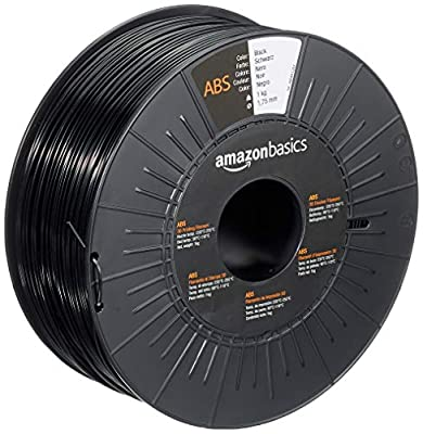AmazonBasics ABS 3D Printer Filament, 1.75mm, Black, 1 kg Spool