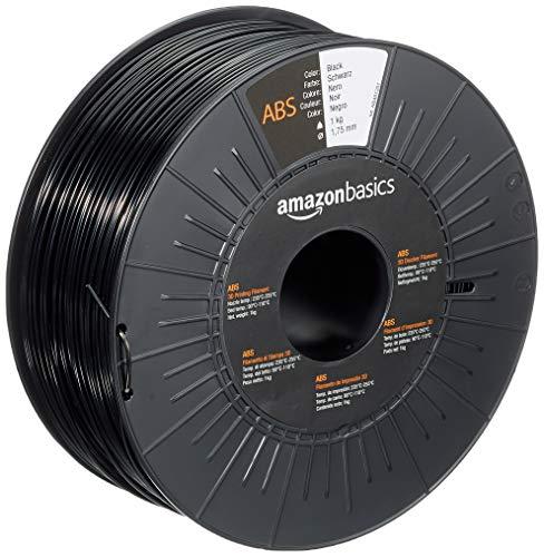 Amazon Basics - Filamento per stampanti 3D, in ABS, 1,75mm, nero, 1 kg per bobina